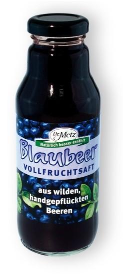 Blaubeer  Vollfrucht wild,  Dr. Metz, 310 ml